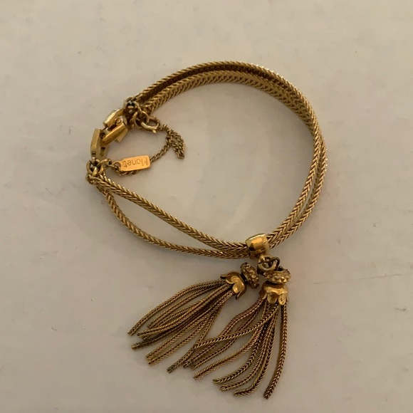 Vintage Monet gold tone bracelet with tassels